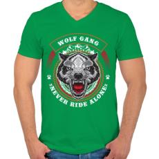 PRINTFASHION Színes farkascsapat - Férfi V-nyakú póló - Zöld