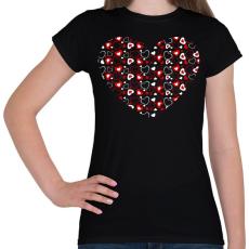 PRINTFASHION Szívek - Női póló - Fekete