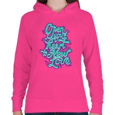 PRINTFASHION Tárd ki a szíved - Női kapucnis pulóver - Fukszia