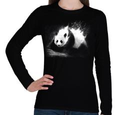 PRINTFASHION Tejpanda - Női hosszú ujjú póló - Fekete
