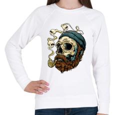 PRINTFASHION Tengerész koponya - Női pulóver - Fehér