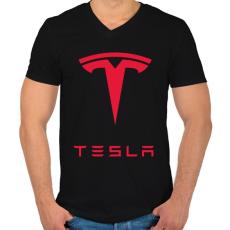 PRINTFASHION Tesla - Férfi V-nyakú póló - Fekete