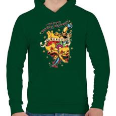 PRINTFASHION Tetováló gyár - Férfi kapucnis pulóver - Sötétzöld