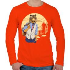 PRINTFASHION Tigris a váosban - Férfi hosszú ujjú póló - Narancs