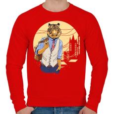 PRINTFASHION Tigris a váosban - Férfi pulóver - Piros