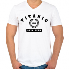PRINTFASHION titanic-swim-team-black - Férfi V-nyakú póló - Fehér