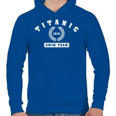 PRINTFASHION titanic-swim-team-white - Férfi kapucnis pulóver - Királykék
