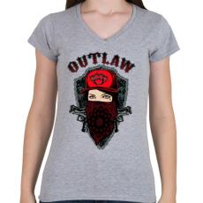 PRINTFASHION Törvényen kívüli - Női V-nyakú póló - Sport szürke