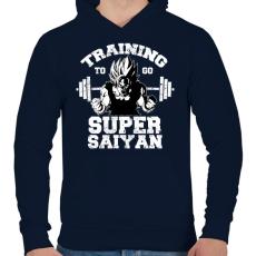 PRINTFASHION Training to go super saiyan - Férfi kapucnis pulóver - Sötétkék