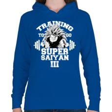 PRINTFASHION Training to go super saiyan - Női kapucnis pulóver - Királykék
