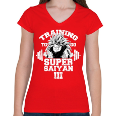 PRINTFASHION Training to go super saiyan - Női V-nyakú póló - Piros