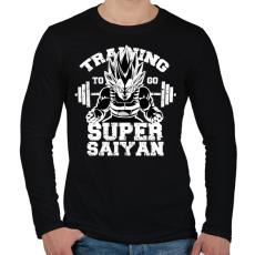 PRINTFASHION Training to super saiyan - Férfi hosszú ujjú póló - Fekete