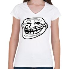 PRINTFASHION TrollFace - Női V-nyakú póló - Fehér