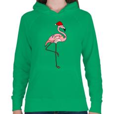 PRINTFASHION Trópusi karácsony flmaingó - Női kapucnis pulóver - Zöld