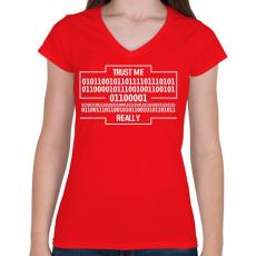 PRINTFASHION Trust me... - Női V-nyakú póló - Piros