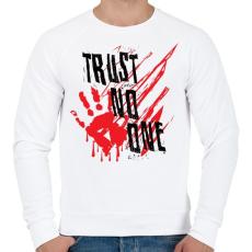 PRINTFASHION Trust no one - Férfi pulóver - Fehér