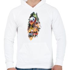 PRINTFASHION Tűzoltó - Férfi kapucnis pulóver - Fehér