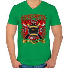 PRINTFASHION Tűzoltó - Férfi V-nyakú póló - Zöld