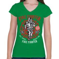 PRINTFASHION Tűzoltó - Női V-nyakú póló - Zöld