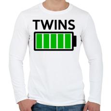 PRINTFASHION TWINS - Férfi hosszú ujjú póló - Fehér
