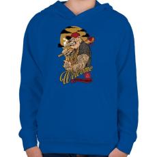 PRINTFASHION Üdvözöllek a környéken - Gyerek kapucnis pulóver - Királykék