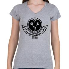 PRINTFASHION UHU - Női V-nyakú póló - Sport szürke
