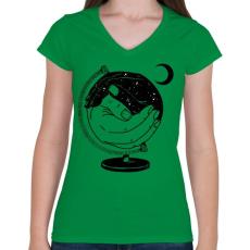 PRINTFASHION Új világ - Női V-nyakú póló - Zöld