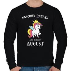 PRINTFASHION Unikornis királynők augusztusban születnek - Férfi pulóver - Fekete