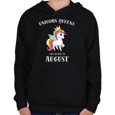 PRINTFASHION Unikornis királynők augusztusban születnek - Gyerek kapucnis pulóver - Fekete