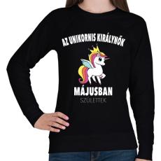 PRINTFASHION Unikornis királynők májusban születtek (MAGYAR) - Női pulóver - Fekete