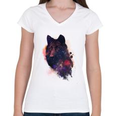 PRINTFASHION Universal wolf - Női V-nyakú póló - Fehér