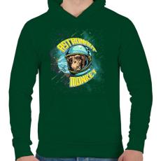 PRINTFASHION Űrhajós majom - Férfi kapucnis pulóver - Sötétzöld