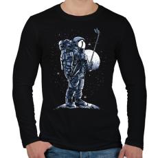 PRINTFASHION Űrhajós szelfi - Férfi hosszú ujjú póló - Fekete
