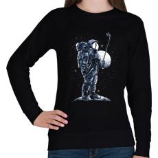 PRINTFASHION Űrhajós szelfi - Női pulóver - Fekete