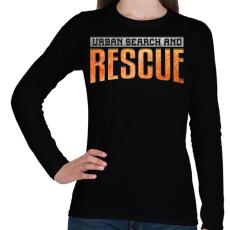PRINTFASHION US&Rescue - Női hosszú ujjú póló - Fekete