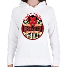 PRINTFASHION Út a pokolban - Női kapucnis pulóver - Fehér