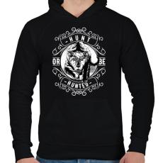PRINTFASHION Vadász - Férfi kapucnis pulóver - Fekete