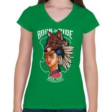 PRINTFASHION Vadnyugat - Női V-nyakú póló - Zöld