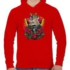 PRINTFASHION Valami zaj - Férfi kapucnis pulóver - Piros