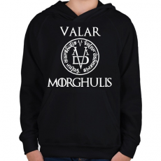 PRINTFASHION Valar Morghulis - Gyerek kapucnis pulóver - Fekete