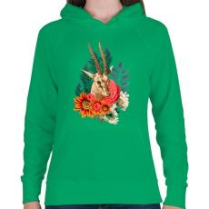 PRINTFASHION Varázslatos antilop - Női kapucnis pulóver - Zöld