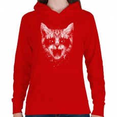 PRINTFASHION Vasmacska - Női kapucnis pulóver - Piros