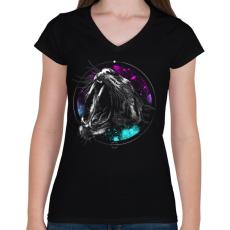PRINTFASHION Védelem - Női V-nyakú póló - Fekete