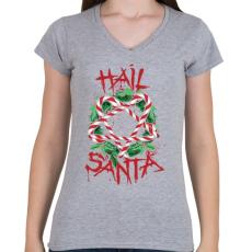 PRINTFASHION Véres karácsony - Női V-nyakú póló - Sport szürke