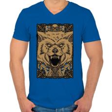 PRINTFASHION Vérszomjas farkas - Férfi V-nyakú póló - Királykék
