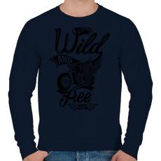 PRINTFASHION Veszélyesen és szabadon - Férfi pulóver - Sötétkék