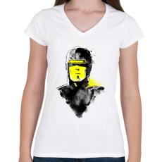 PRINTFASHION Vhs man - Női V-nyakú póló - Fehér