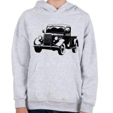 PRINTFASHION Vintage truck - Gyerek kapucnis pulóver - Sport szürke