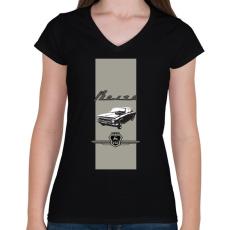 PRINTFASHION volga - Női V-nyakú póló - Fekete