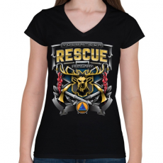 PRINTFASHION Volunteer Rescue - Női V-nyakú póló - Fekete